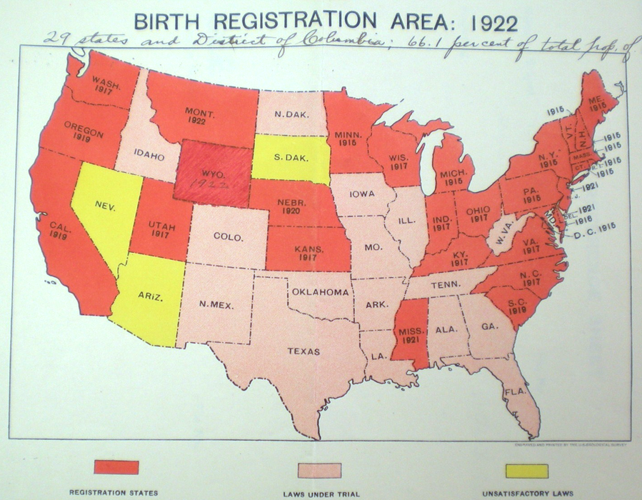"US Birth Registration Area, 1922. Registration-area states (90% of each year's births registered) are in red; states with ""laws under trial"" are in pink; states with ""unsatisfactory laws"" are in yellow."