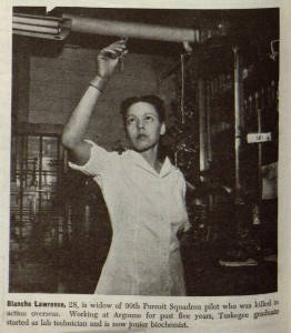 "Lawrence was a Tuskegee graduate and the widow of a military pilot. When this picture was taken, she had been working at the Met Lab for 4 years; during that time, she had been promoted from a technician to ""junior biochemist."" Source: ""Atom Scientists'', Ebony, September 1949, 26."