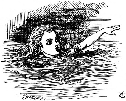 Alice swimming alone, from Sir John Tenniel's illustrations of Alice in Wonderland