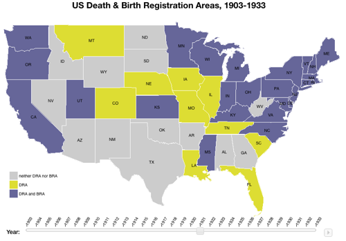 US death & birth registration areas, 1921